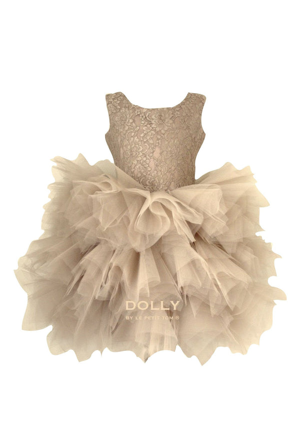 DOLLY by Le Petit Tom ® the PIROUETTE DRESS gold - DOLLY by Le Petit Tom ®