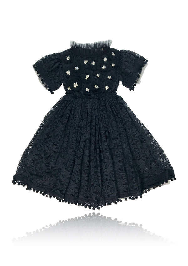 DOLLY JEWELER'S CRYSTALS Diamonds & Pearls Lace dress with pompoms black