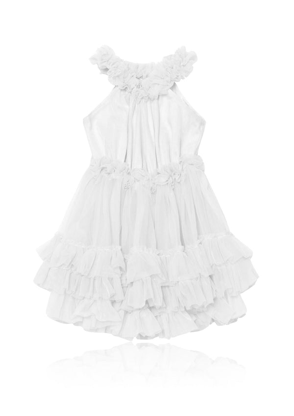 DOLLY RUFFLED CHIFFON DANCE DRESS off-white