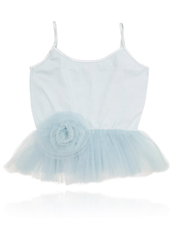DOLLY by Le Petit Tom ® Cami Top with Rosette light blue - DOLLY by Le Petit Tom ®