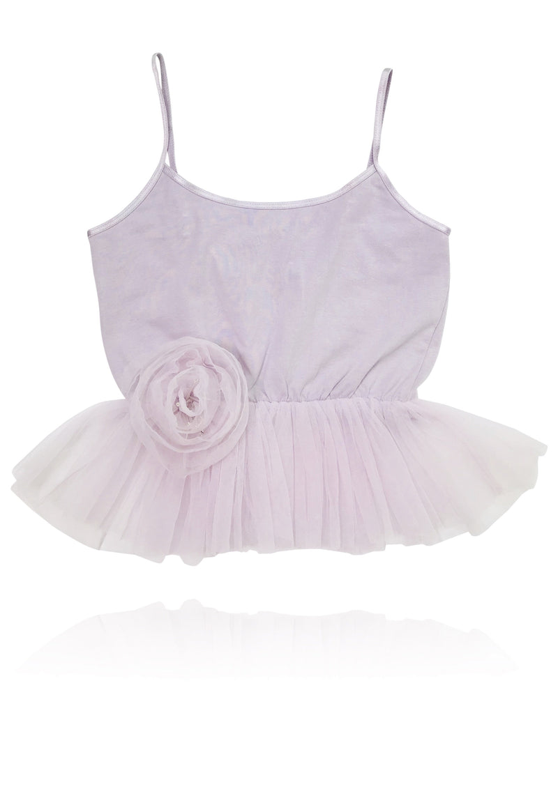 DOLLY by Le Petit Tom ® Cami Top with Rosette violet - DOLLY by Le Petit Tom ®