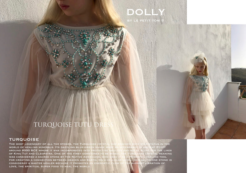 DOLLY by Le Petit Tom ® JEWELER'S CRYSTALS Turquoise tutu dress
