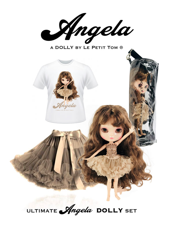 [ PRE ORDER *] ANGELA DOLLY by Le Petit Tom ® T-shirt Angela doll brown taupe