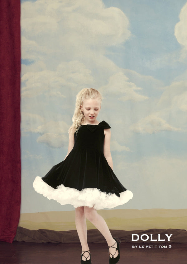 DOLLY by Le Petit Tom ® VELVET THE MISS BALLET petticoat dress black - DOLLY by Le Petit Tom ®