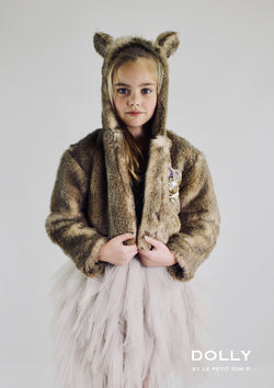 DOLLY by Le Petit Tom ® WOLF fur hooded jacket with ears mixed brown - DOLLY by Le Petit Tom ®