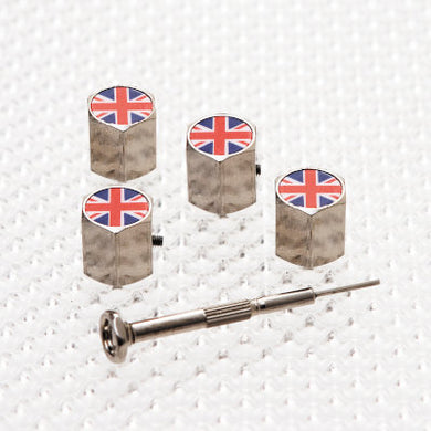 Locking Tyre Valve Dust Caps - Union Jack