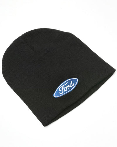 Black Beanie Hat with Ford Blue Oval logo