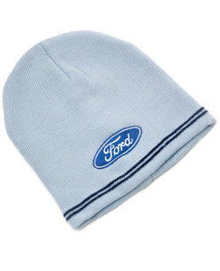 Light Blue Beanie Hat with Ford Blue Oval logo and 2 stripes