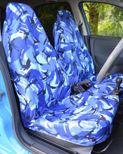 Load image into Gallery viewer, Blue Camouflage Slip-Over Car Seat Covers