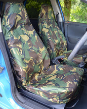 Load image into Gallery viewer, Green Camouflage Slip-Over Car Seat Covers