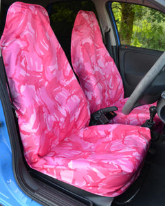 Pink Camouflage Slip-Over Waterproof Seat Covers