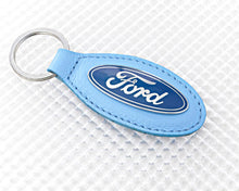 Load image into Gallery viewer, Ford Key Ring with Blue Leather Fob