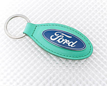 Load image into Gallery viewer, Ford Keyring with Green Leather Fob