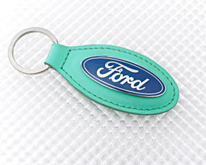 Ford Keyring with Green Leather Fob