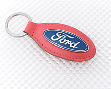Load image into Gallery viewer, Ford Key Ring with Red Leather Fob