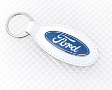 Load image into Gallery viewer, Ford Key Ring with White Leather Fob