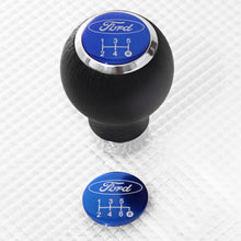 Load image into Gallery viewer, Leather Gear Knob with Blue Ford Insert