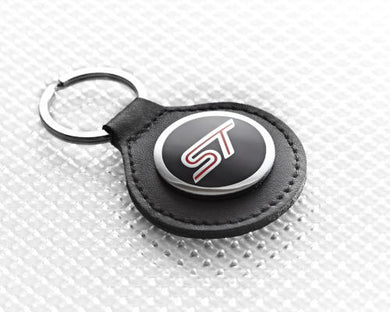 Ford ST Keyring with round black leather fob