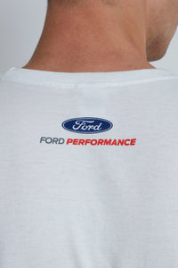 White crew neck t-shirt with Ford Performance on back