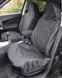 Airbag Compatible Fiat 500 Front Seat Cover in Black