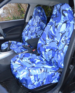 Fiat 500 Front Seat Covers - Camo Blue