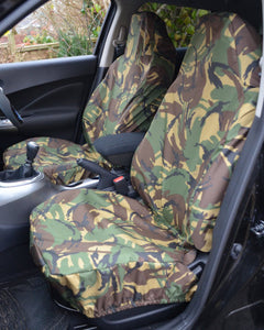 Green Camo Fiat 500 Seat Covers - Front Pair
