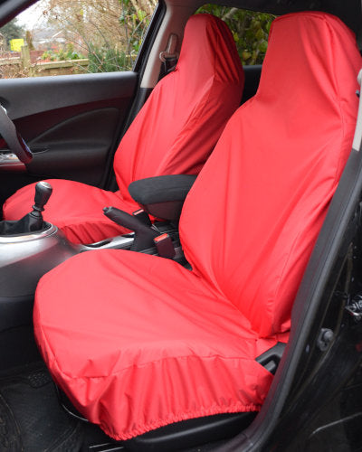 Ford Fiesta Red Seat Covers - Waterproof Front Pair