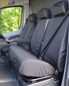 VW Crafter Van Dual Passenger Seat Cover - Black