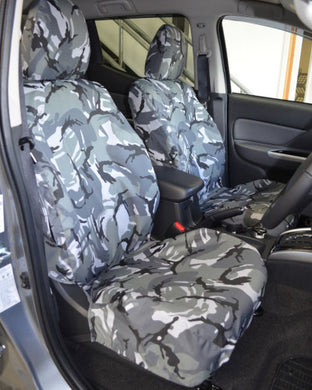 Front Seat Covers for Fiat Fullback in Grey Camouflage