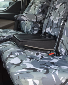 Fold-out table on Ford Transit Van dual front passenger seat