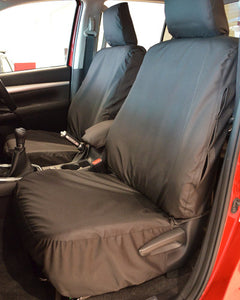Toyota Hilux Invincible Tailored Seat Covers - Black Front Pair
