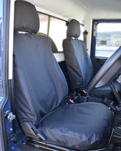Load image into Gallery viewer, Land Rover Defender Black Waterproof Front Seat Covers