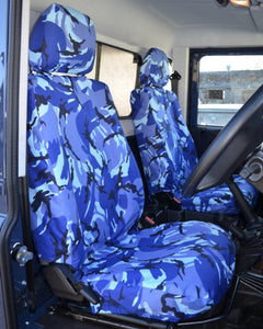 Land Rover Defender Blue Camouflage Seat Covers