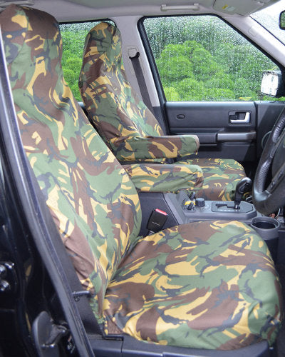 Discovery 3 Green Camouflage Front Seat Covers with Armrests