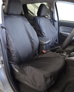 Tailored Mitsubishi L200 Front Seat Covers in Black
