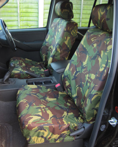 Navara D40 Front Seat Covers - Green Camo