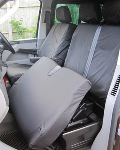 VW Transporter T5 Dual Passenger Seat Cover in Black