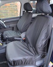 Load image into Gallery viewer, VW Caddy Panel Van Tailored Waterproof Seat Covers in Black