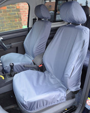 Load image into Gallery viewer, VW Caddy Tailored Waterproof Front Seat Covers in Grey