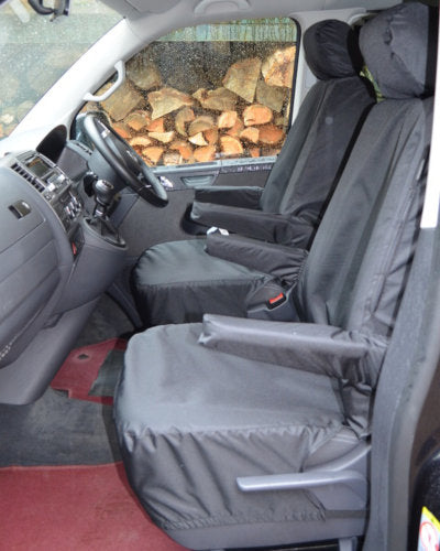 VW Caravelle T6 Single Front Seat Covers in Black
