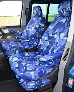 VW Transporter T6 with Blue Camo Seat Covers
