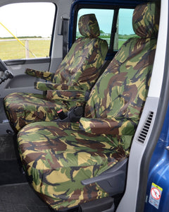 VW Transporter T6 with Green Camo Seat Covers
