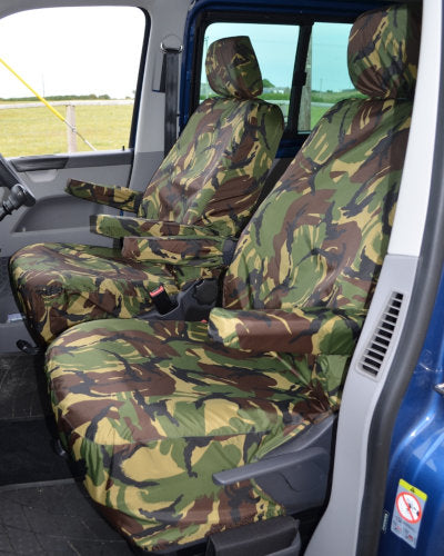VW Transporter T5 Front Seat Covers - Green Camo