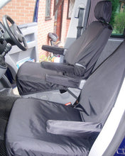 Load image into Gallery viewer, VW Transporter T6 with Black Front Seat Covers