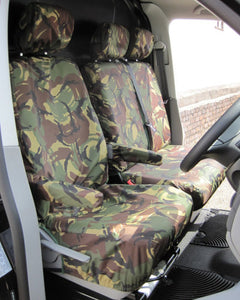 VW Transporter Tailored Dual Seat Covers - Green Camo