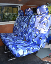 Load image into Gallery viewer, VW Transporter Kombi T6 Seat Covers 2nd Row Bench - Blue Camo