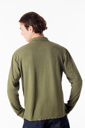 Men's perfect polo eco style! Long sleeve shirt in green, organic cotton hemp blend, great for golf and everyday wear. Soft and breathable, slow menswear ethically made in Canada.