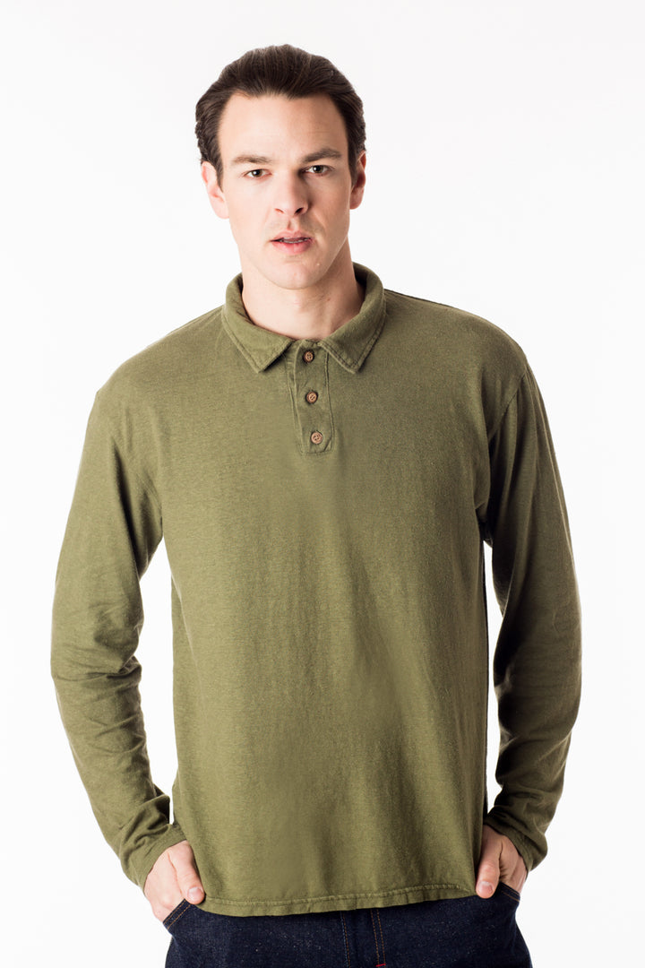 Men's perfect polo eco style! Long sleeve shirt in green, black, gold and natural. Organic cotton hemp blend, great for golf and everyday wear. Soft and breathable, slow menswear ethically made in Canada.