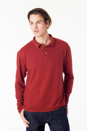 Men's perfect polo eco style! Long sleeve shirt in burgundy, organic cotton hemp blend, great for golf and everyday wear. Soft and breathable, slow menswear ethically made in Canada.