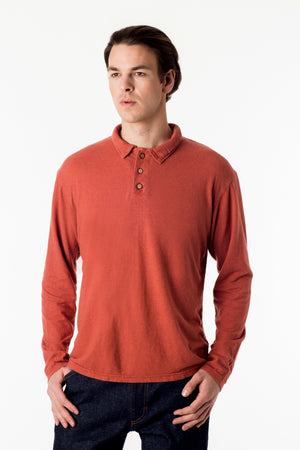 Men's perfect polo eco style! Long sleeve shirt in orange, organic cotton hemp blend, great for golf and everyday wear. Soft and breathable, slow menswear ethically made in Canada.